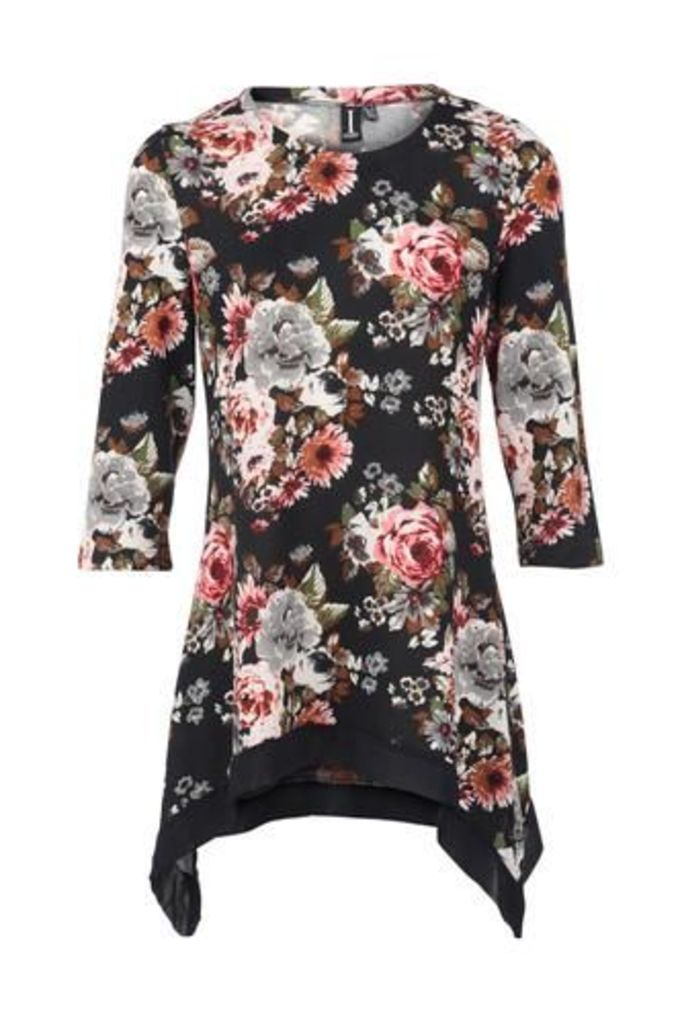 Floral Dipped Side Top