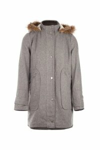 Faux Fur Trim Duffle Coat