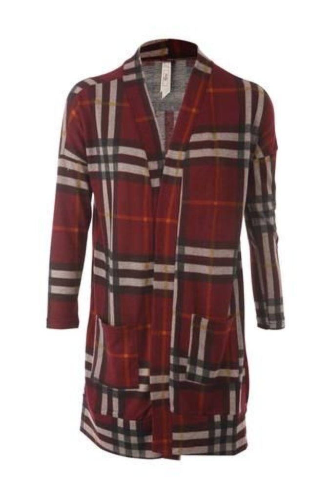 Checked Longline Knit Cardigan