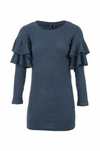Ruffle Sleeve Ribbed Jumper
