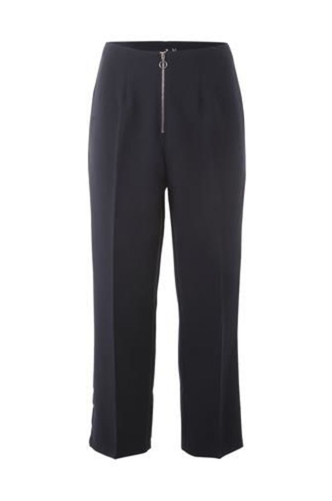 Zip Front Crop Tailored Trousers