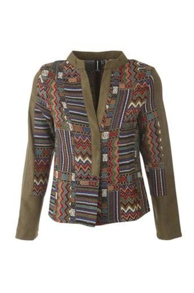 Patchwork Open Front Jacket