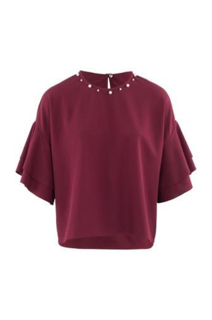 Pearl Neck Blouse