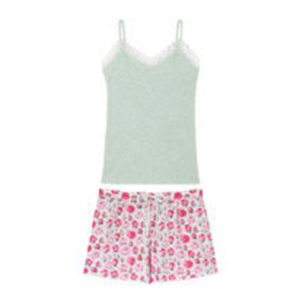 Belsize Rose Vest And Shorts Set