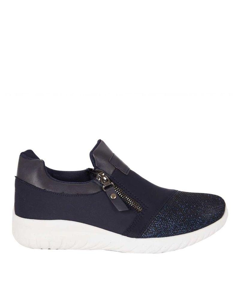 THOMASIN - Glitter Zip Sneakers Navy