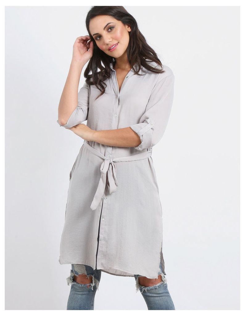 GINA-Embroidery Back Shirt Dress Silver