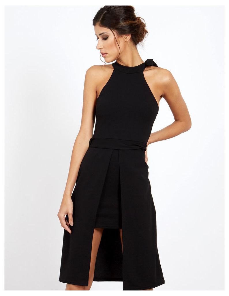PALOMA - Tie Neck Belted Black Dress