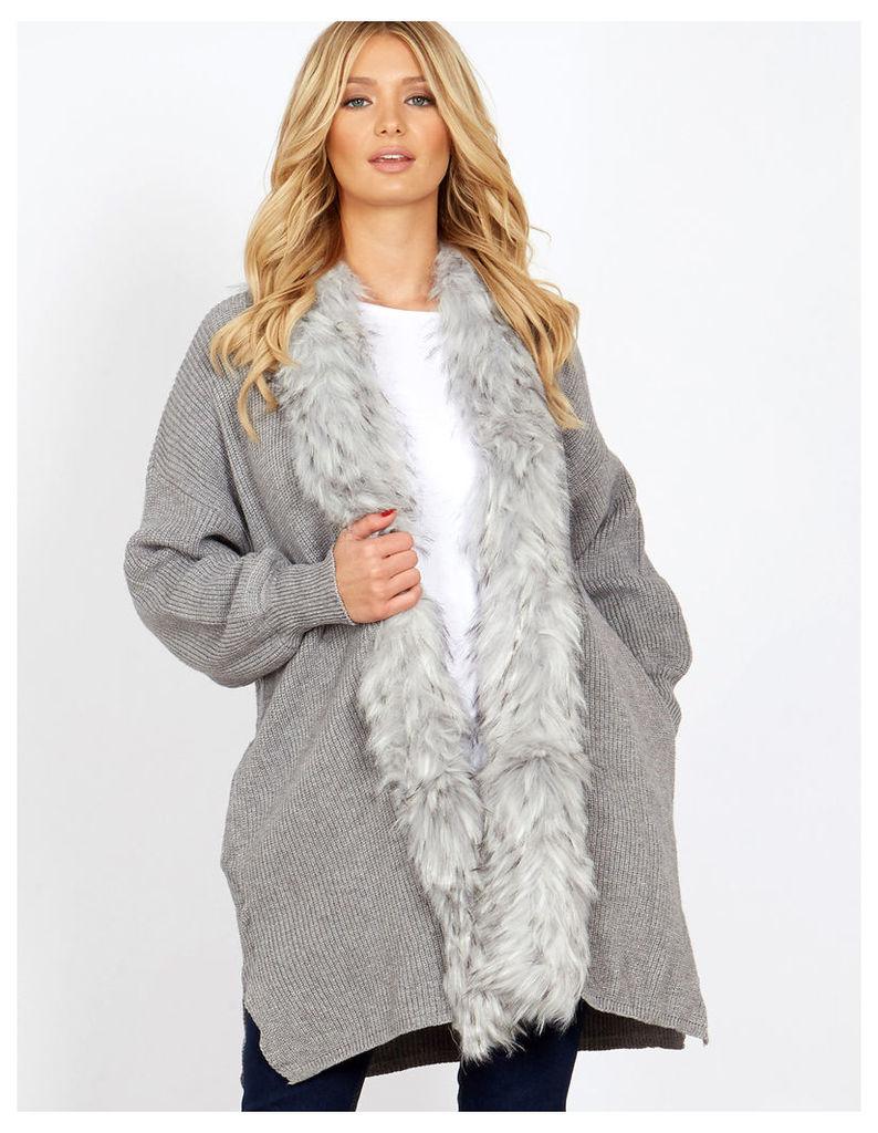 LIDO - Grey Fur Trim Volume Sleeves Cardigan