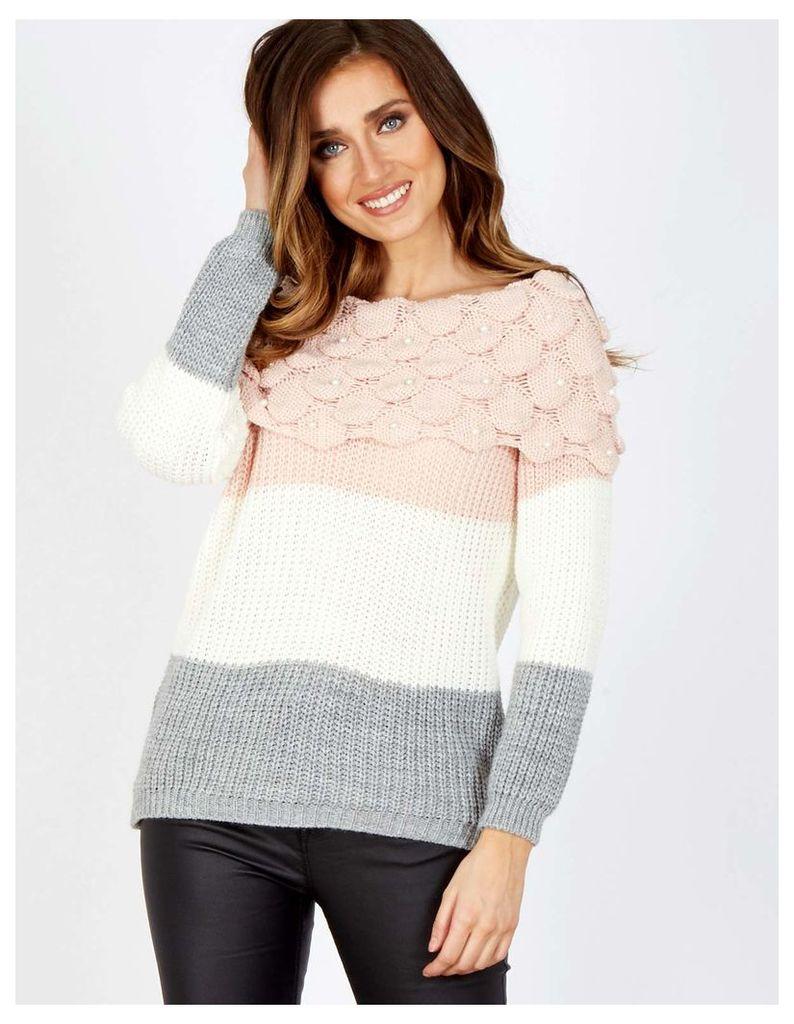 VARDA - Off Shoulder Knitted Pearl Jumper