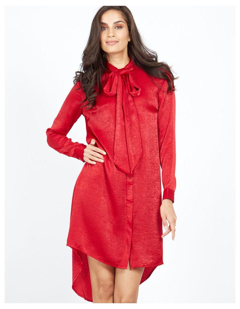 NEOLA - Pussybow Satin Red Shirt Dress