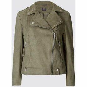 Ex Marks   Spencer  Women`s Khaki Faux Suede Biker Jacket  women's Jacket in Green