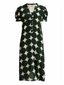 Adriana Degreas - Cacao Polka Dot Print Silk Dress - Womens - Green Multi
