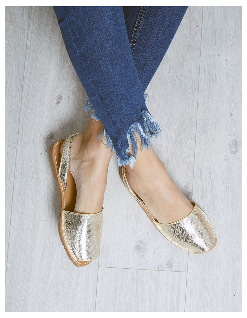 KIYA - Gold Peep Toe Shoes