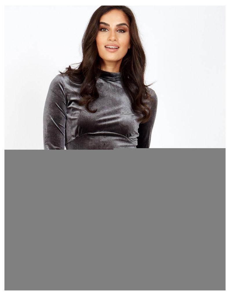 OLIMA - Velvet Grey Dress With Lace Details