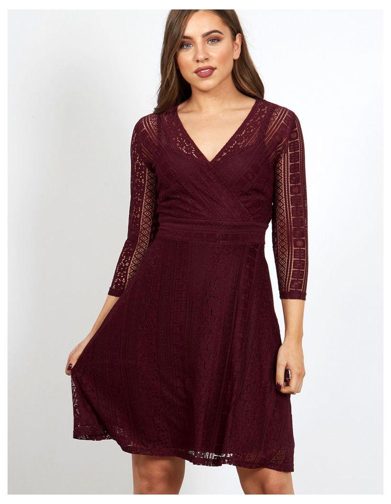 TYSON - Cropped Sleeve V Neck Lace Wine Dress