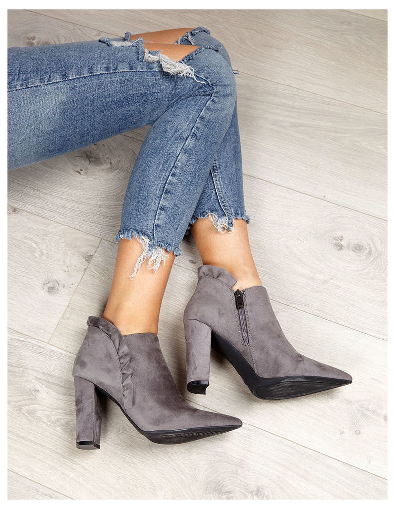 CANDELA - Suede Frill Pointed Grey Boots
