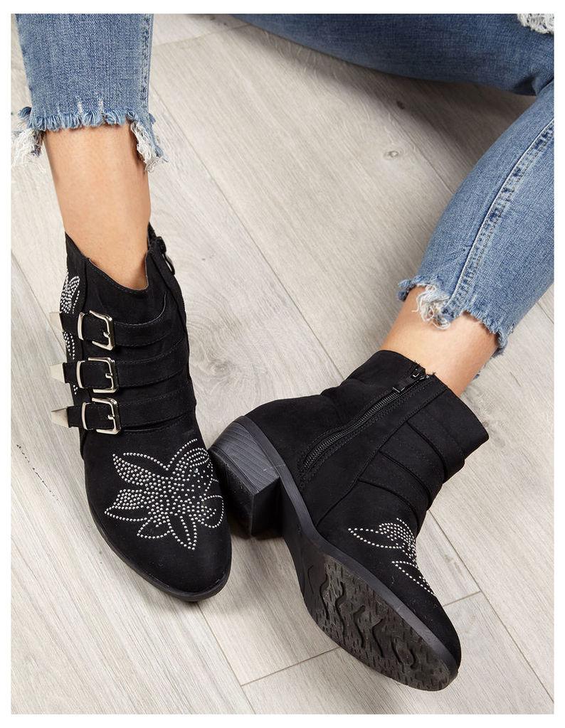 LELIA - Suede Studs Buckle Black Boots