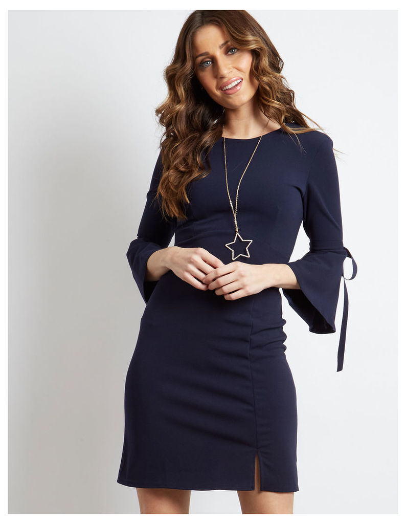 ZIMI - V Back Tie Sleeve Dress Black Navy