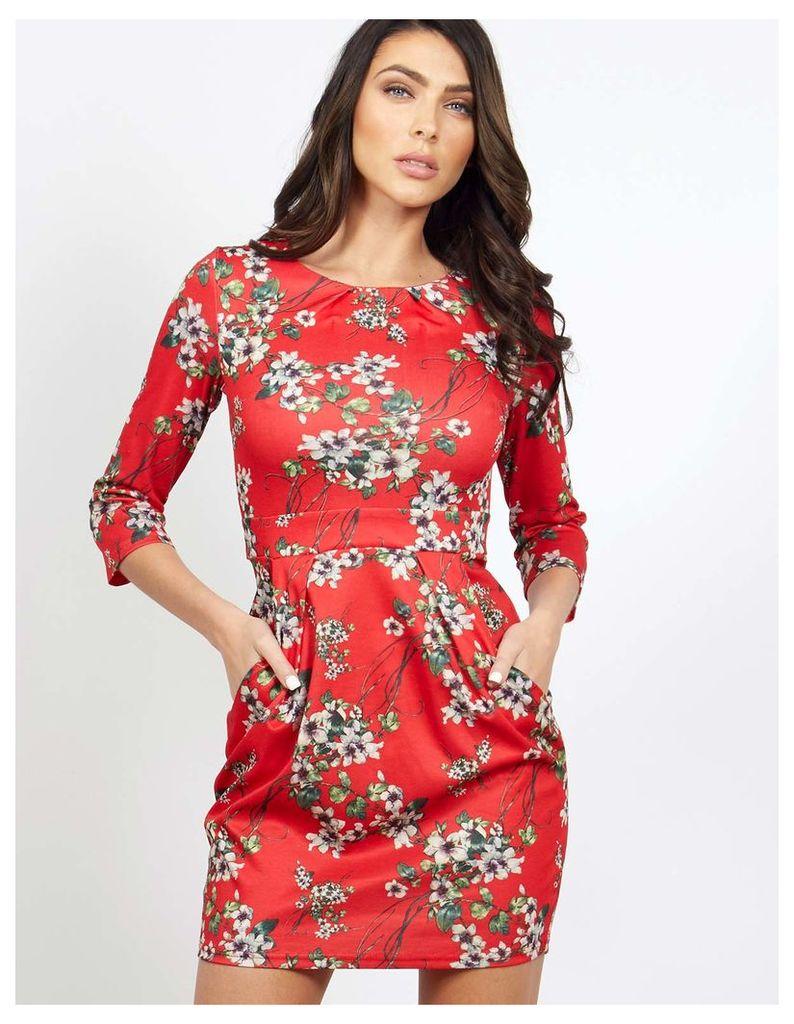WALLIS - 3/4 Sleeve Tulip Red Dress