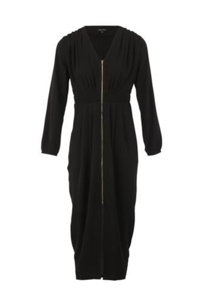 Ruched Zip Front Dress