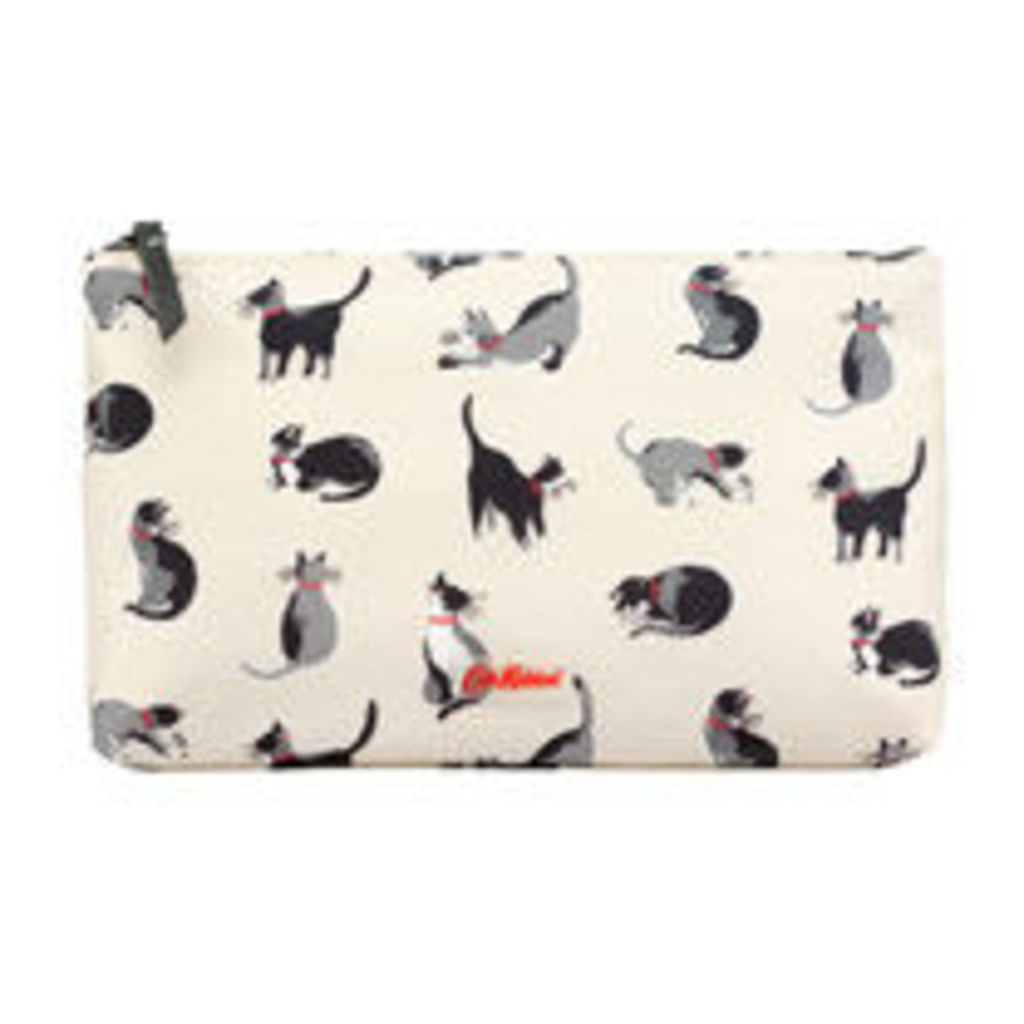 Small Painted Cats Matt Zip Cosmetic Bag