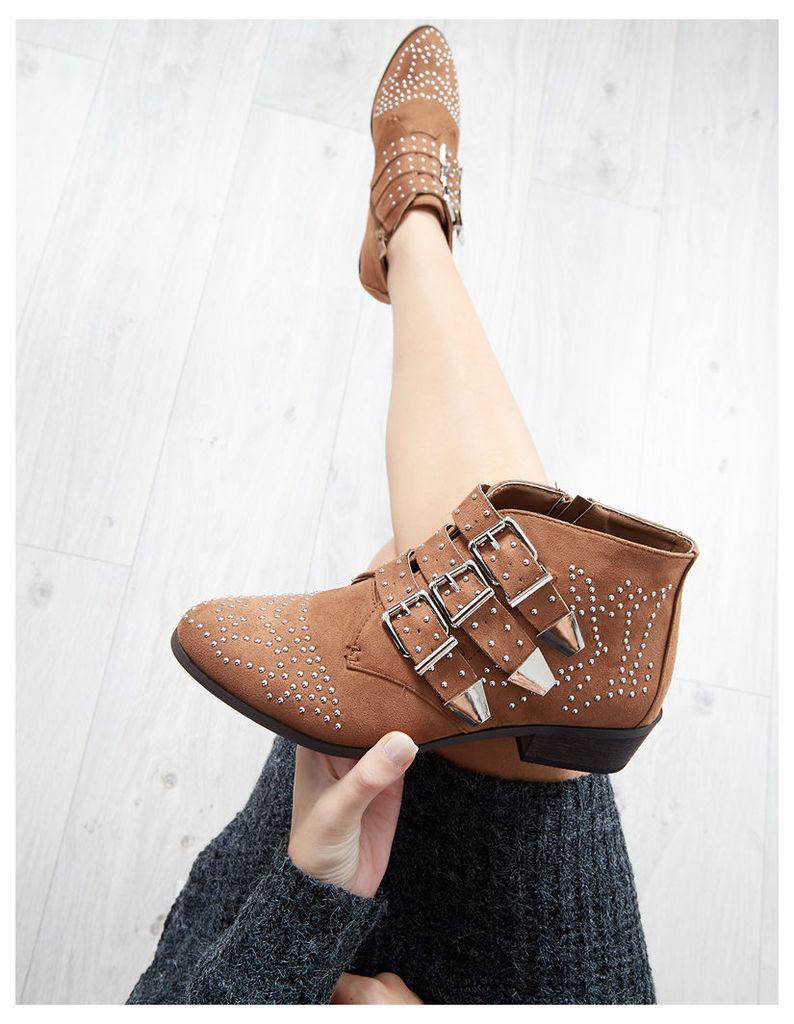 SHANIA - Studded Buckles Camel Boots