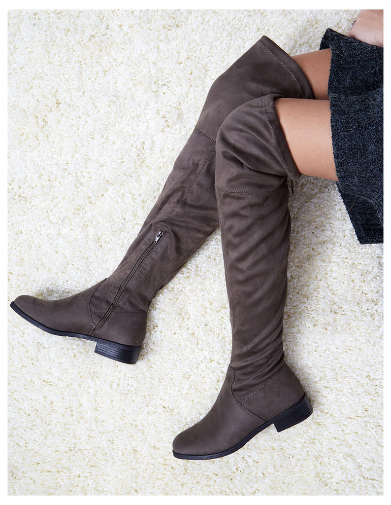 TELMA - Over The Knee Suede Khaki Boots