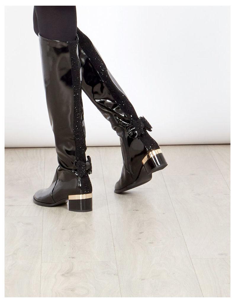 RILLA - Bow Detail Shiny Boots