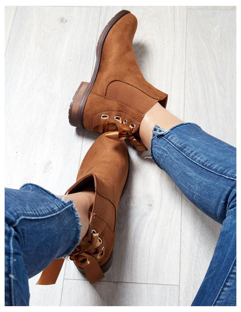 TAMARA - Ribbon Suede Camel Chelsea Boots