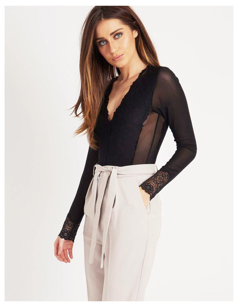 IMARA - Long Sleeve Lace Tie Body Black