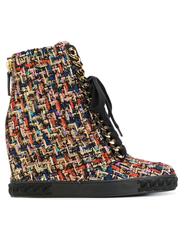 Casadei tweed lace-up sneakers - Multicolour