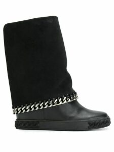 Casadei concealed platform chain boots - Black