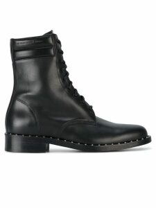 Off-White Leather Combat Studded Boots - Black