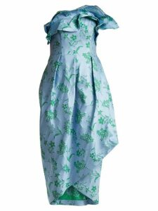 Carolina Herrera - Ruffle-trimmed Floral-jacquard Dress - Womens - Blue Print