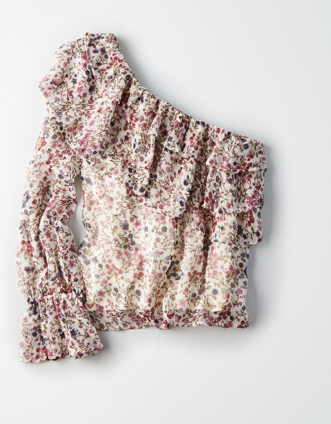 AE COLD SHOULDER FLORAL RUFFLE TOP