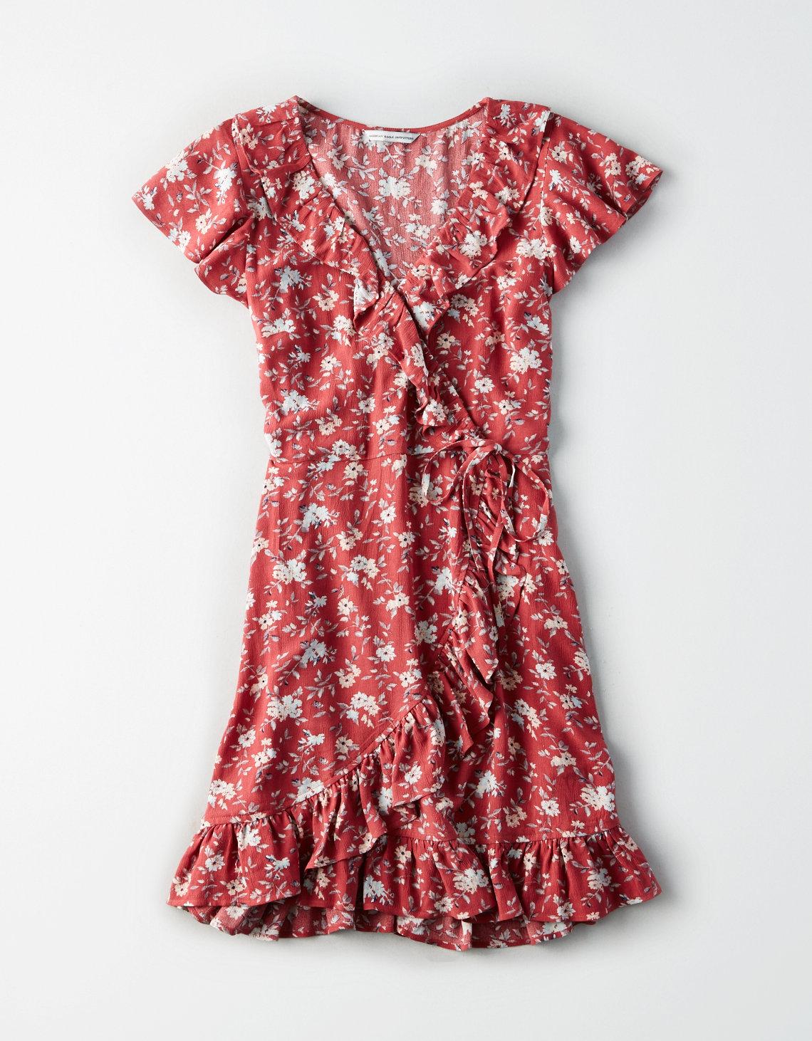 AE RUFFLE WRAP DRESS