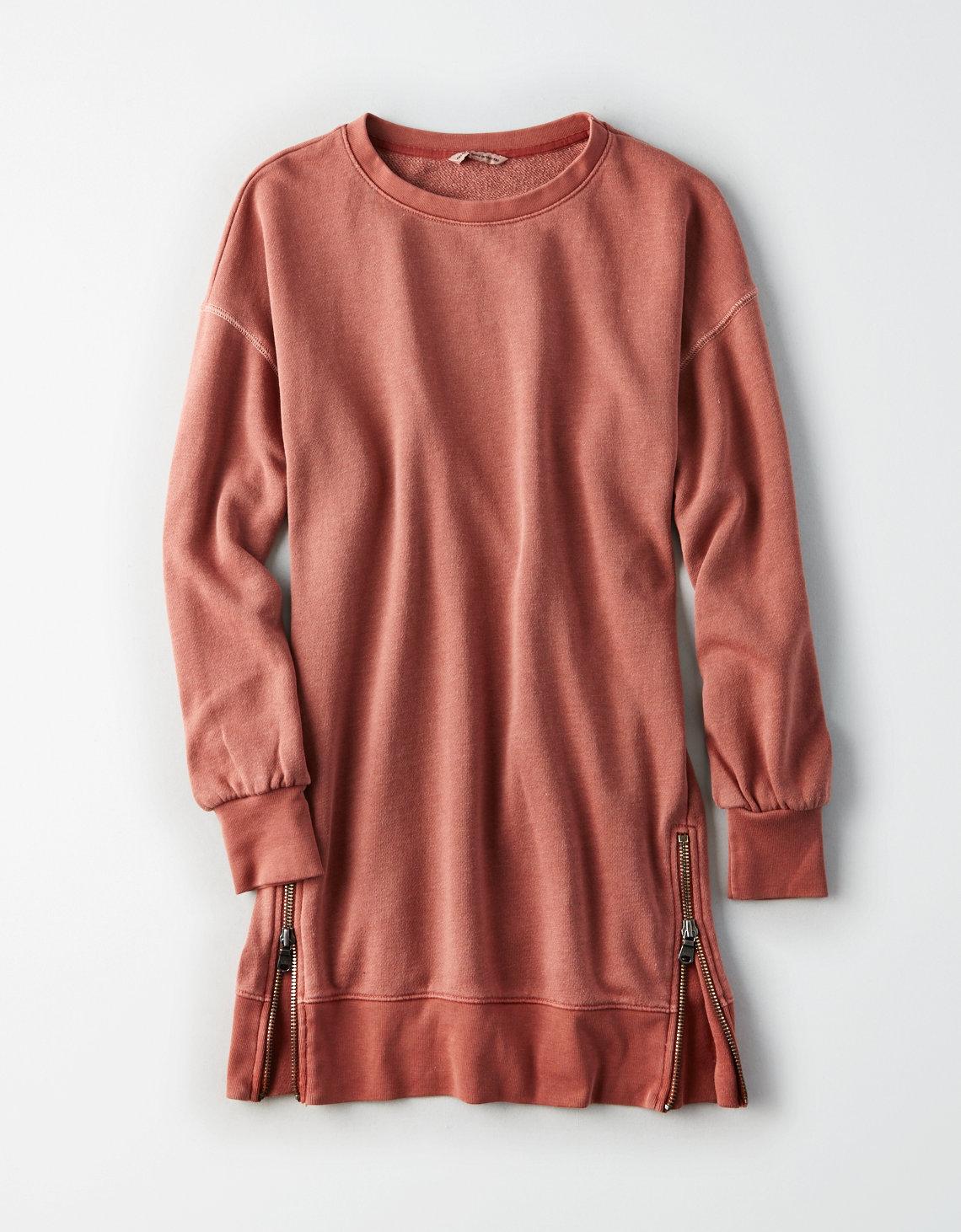 AE ACTIVE WASHED BALLOON SLEEVE FLEECE ZIPPER DRESS