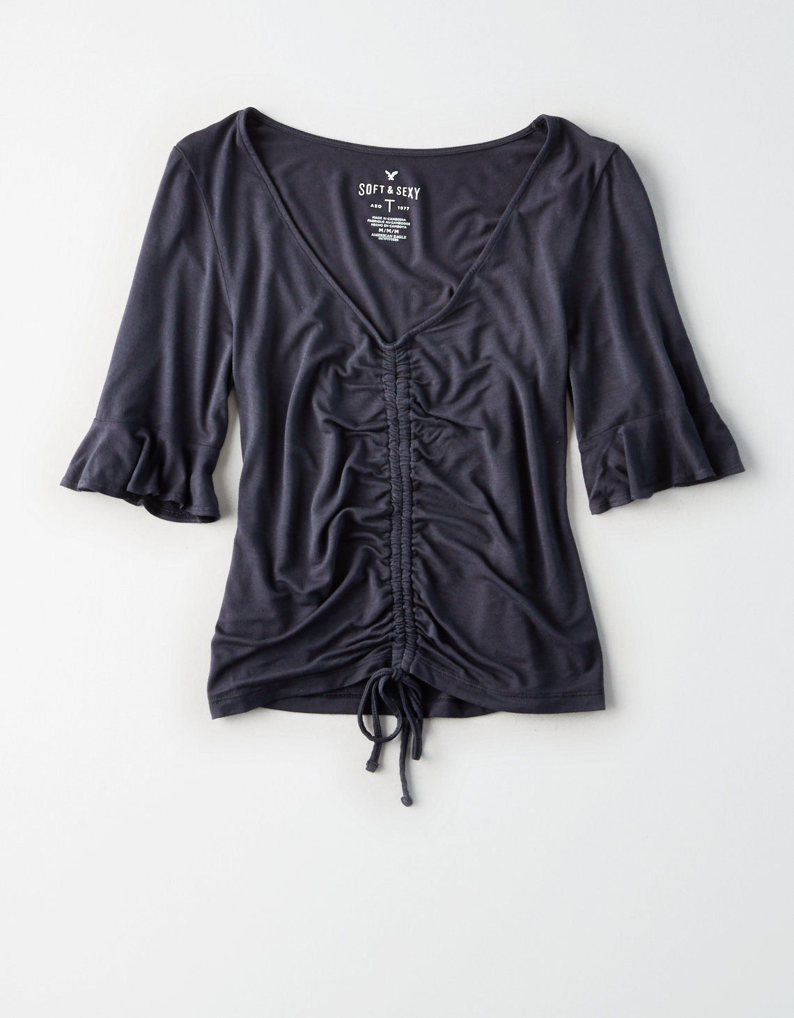 AE SOFT & SEXY RUFFLE SLEEVE RUCHED FRONT T-SHIRT