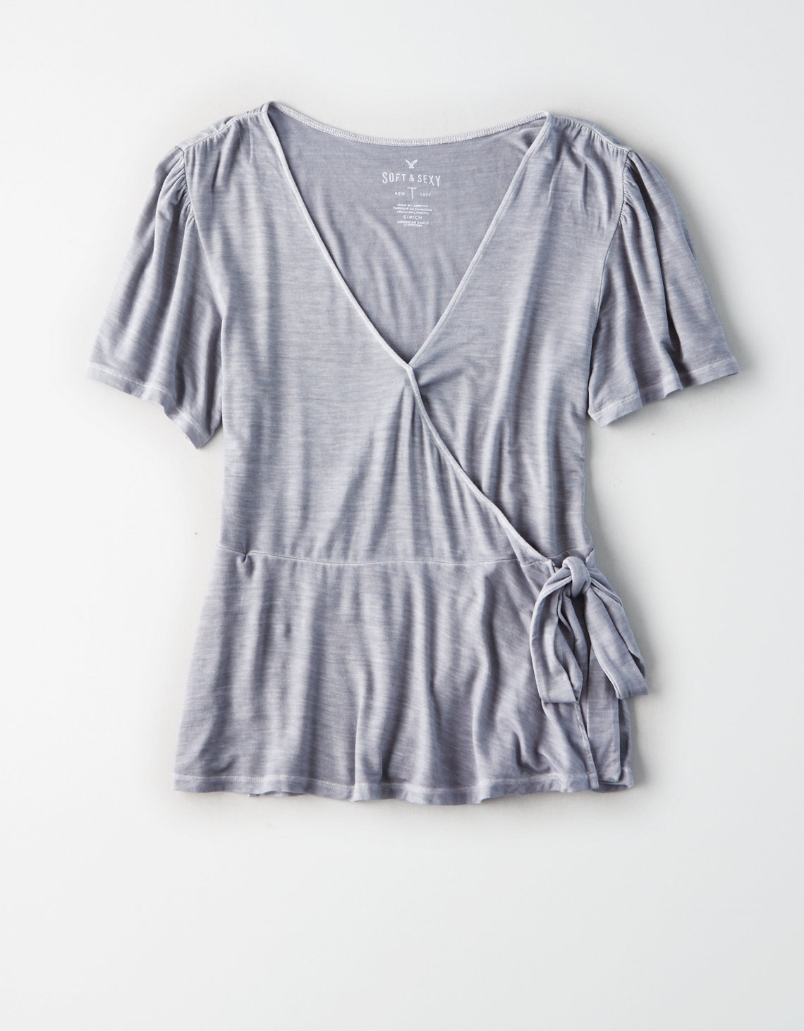 AE WRAP FRONT FLUTTER SLEEVE T-SHIRT