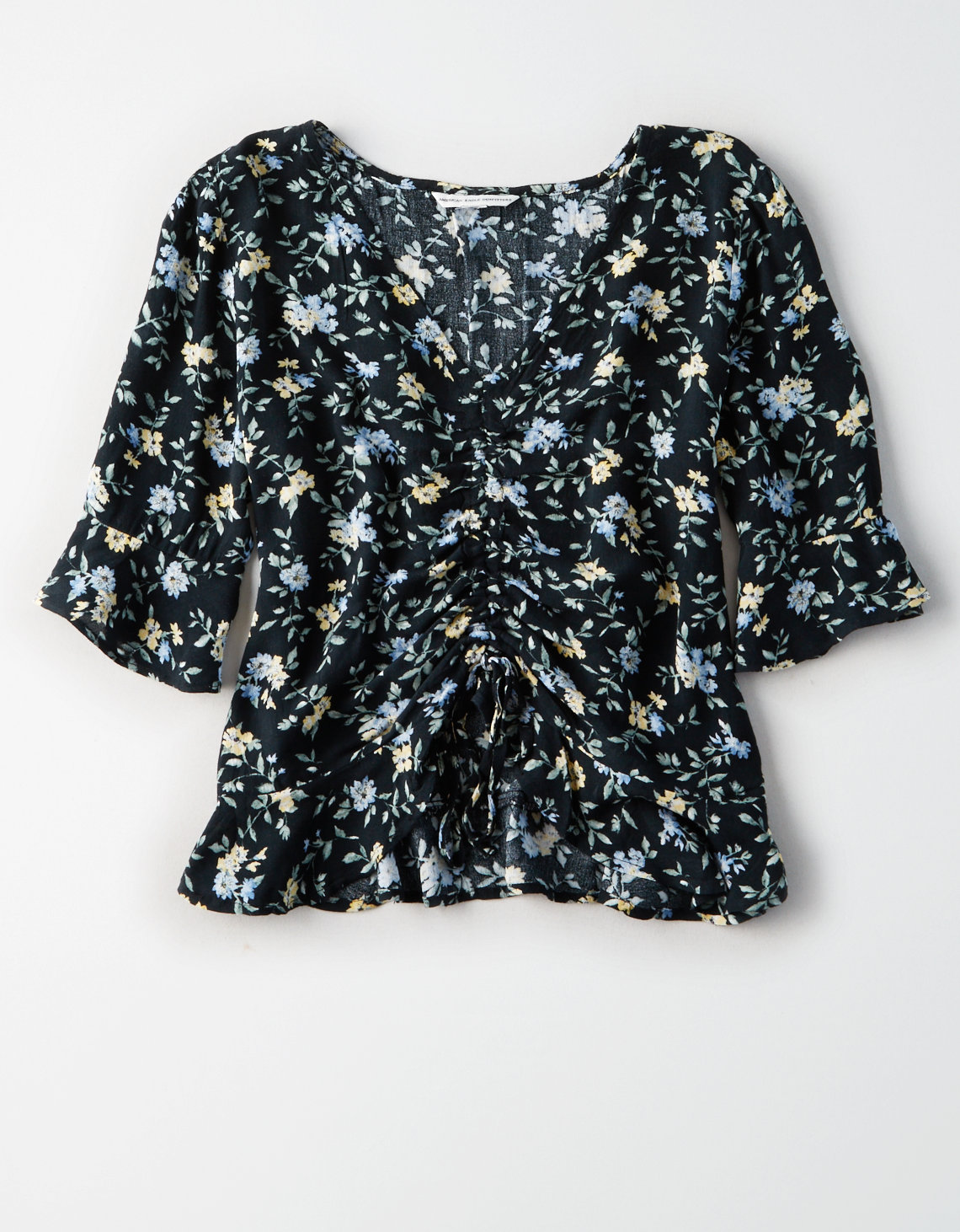 AE FLORAL PRINTED RUCHED FRONT TOP