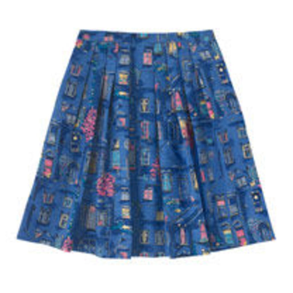 Village Windows Bark Cloth Pleated Skirt