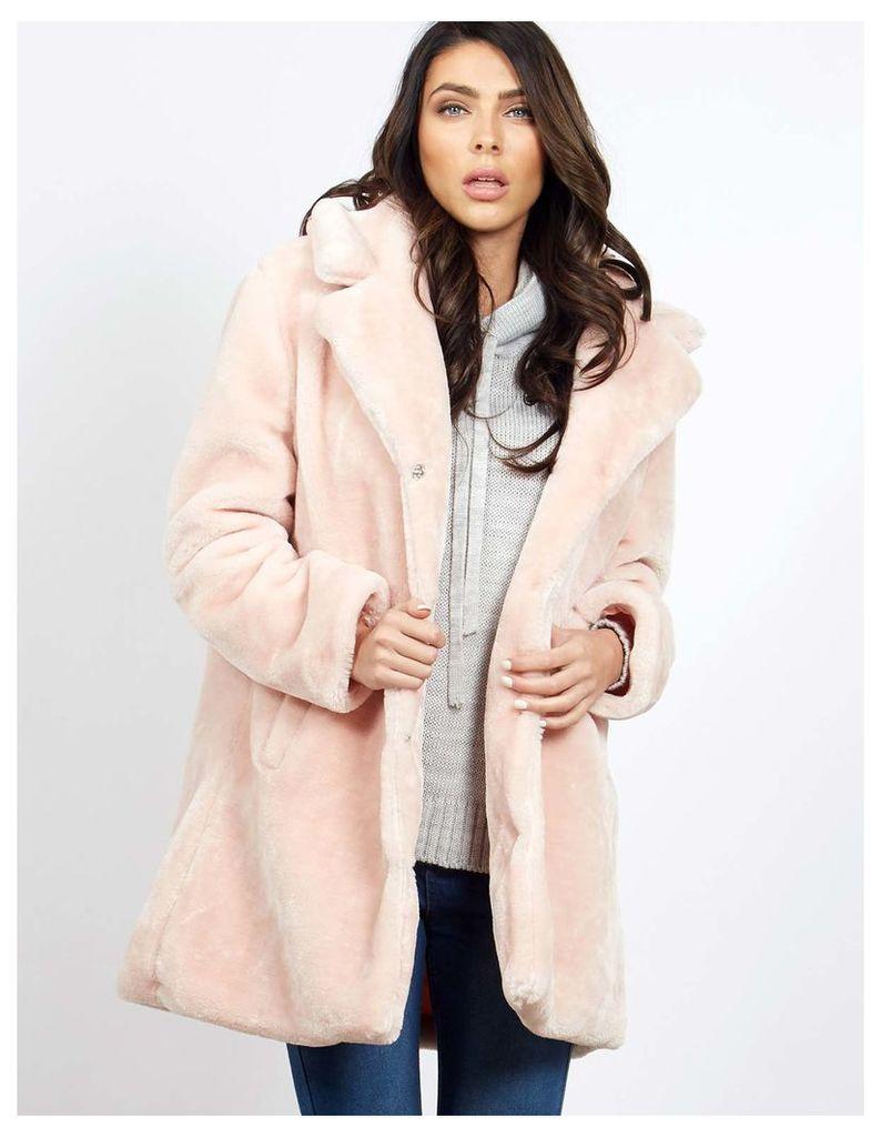 DARU - Blush Teddy Fur Coat