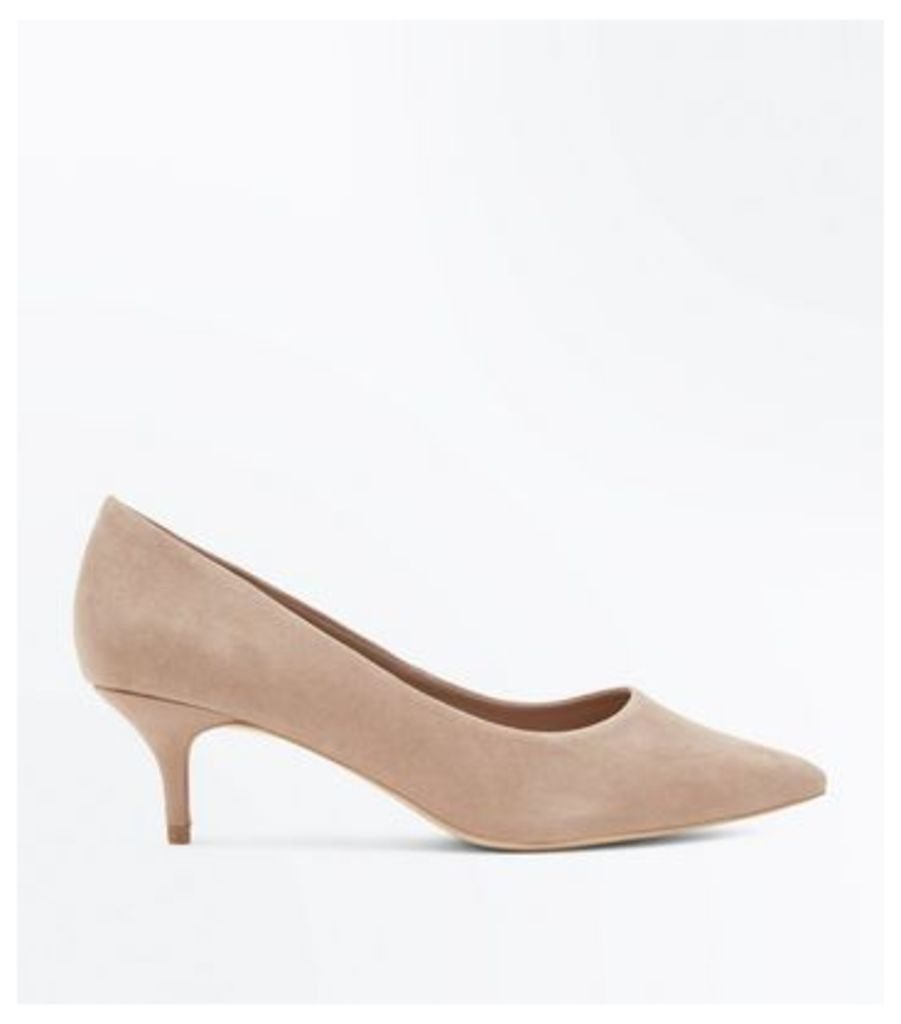 Wide Fit Light Brown Suedette Kitten Heel Courts New Look