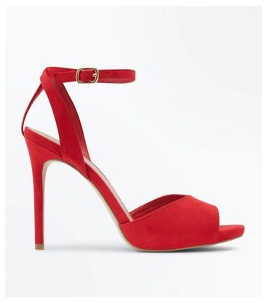 Wide Fit Red Peep Toe Stiletto Sandals New Look