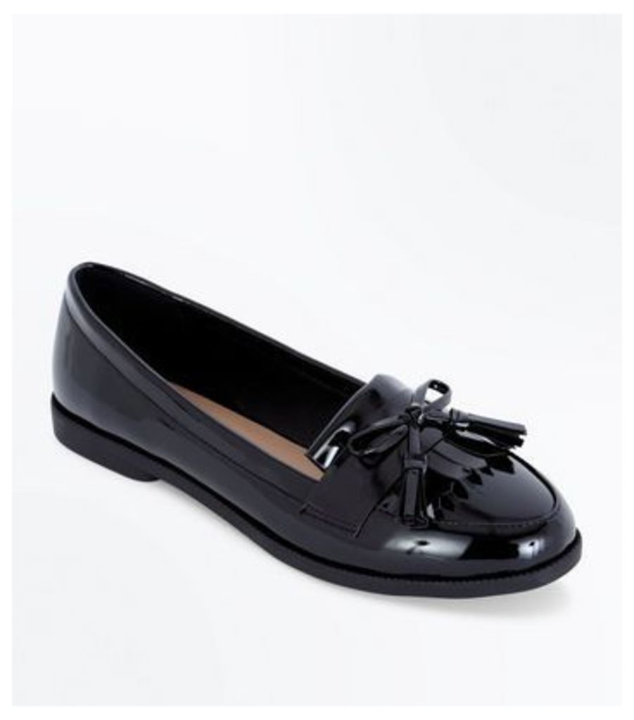 Black Patent Bow Tassel Front Loafers New Look