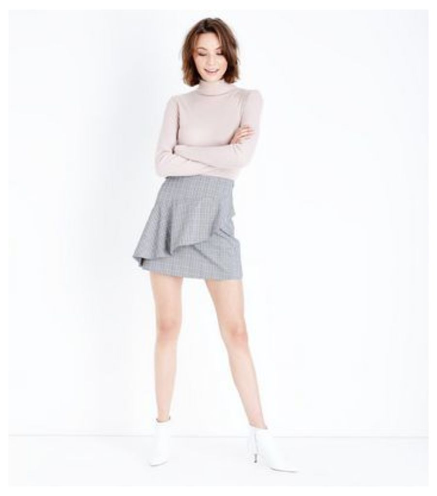 Cameo Rose Light Grey Check Asymmetric Frill Skirt New Look