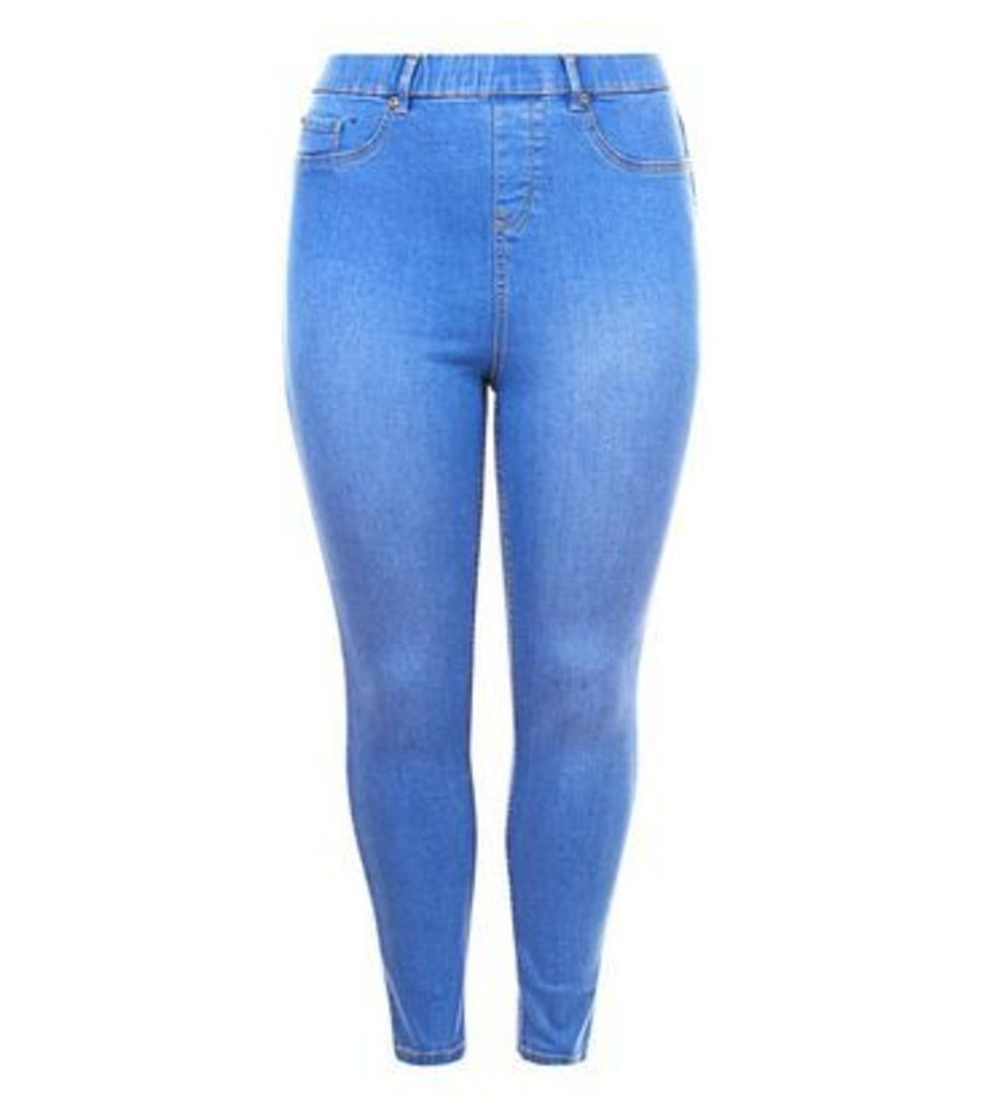 Curves Bright Blue Jeggings New Look