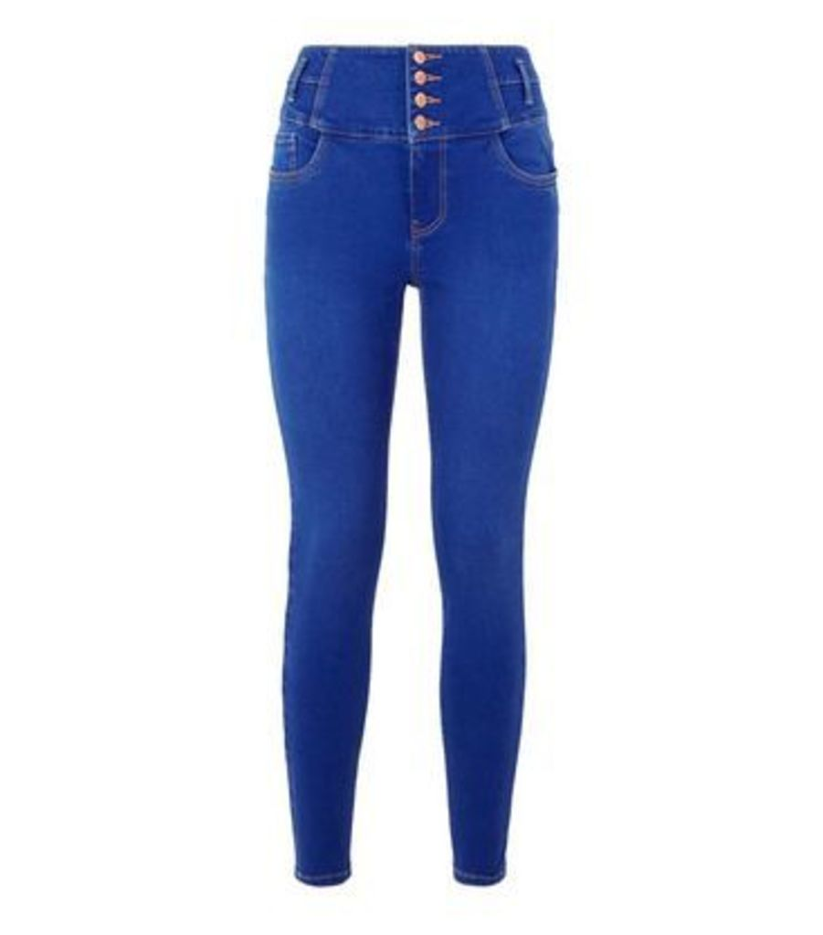 Bright Blue Rinse Wash High Waist Yazmin Jeans New Look