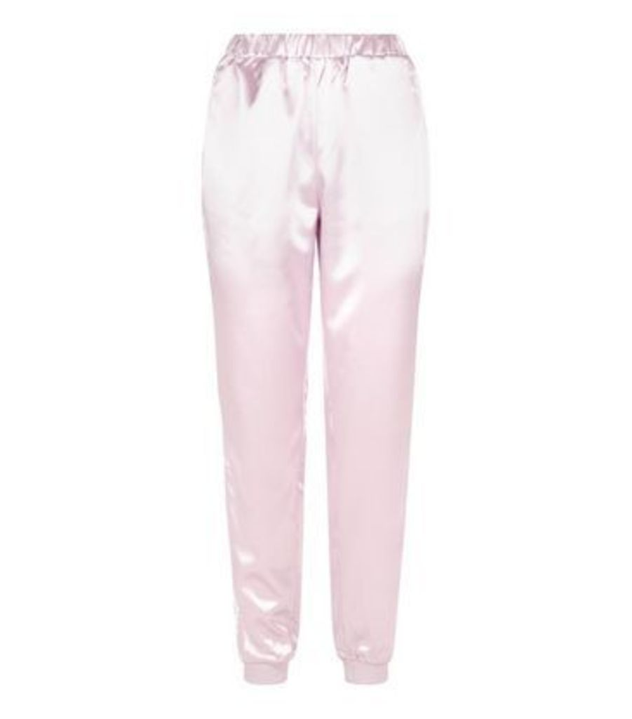 Parisian Pale Pink Satin Stripe Side Joggers New Look