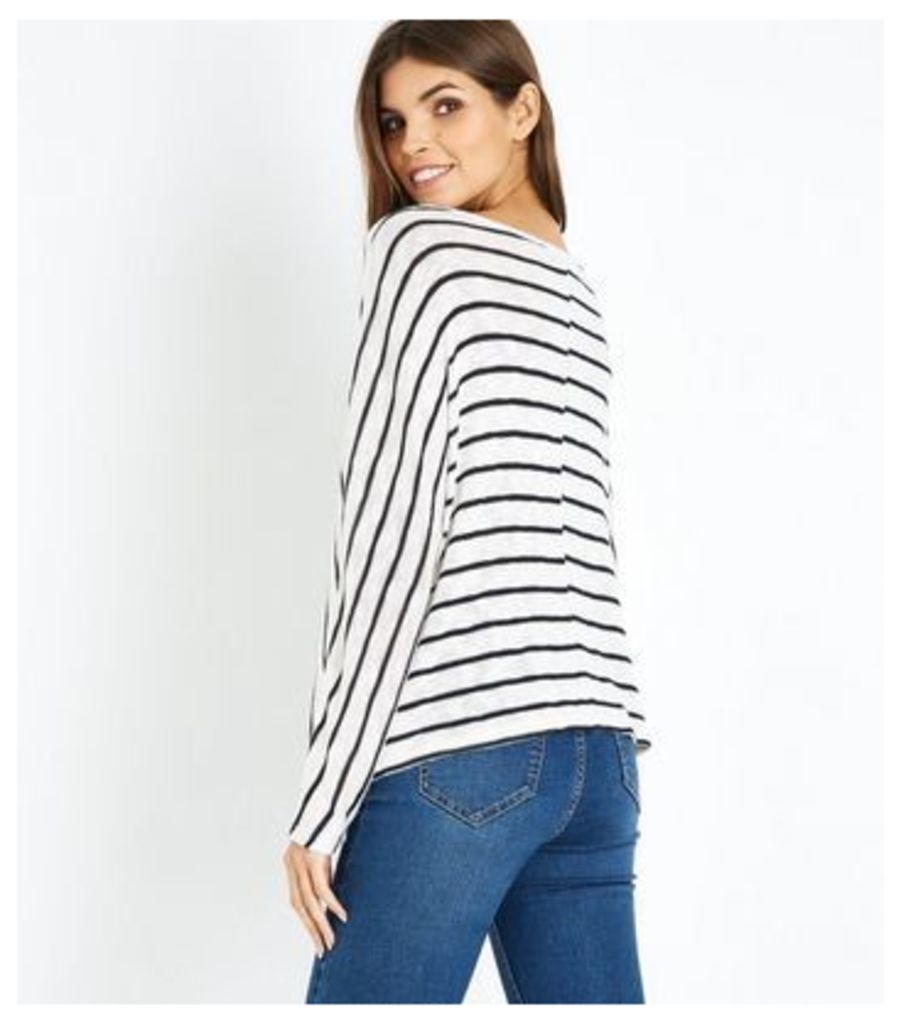 Blue Stripe Fine Knit Tie Front Batwing Top New Look